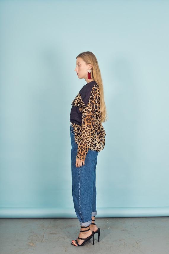 80s Leopard Print Black Statement Top Vintage Pep… - image 8