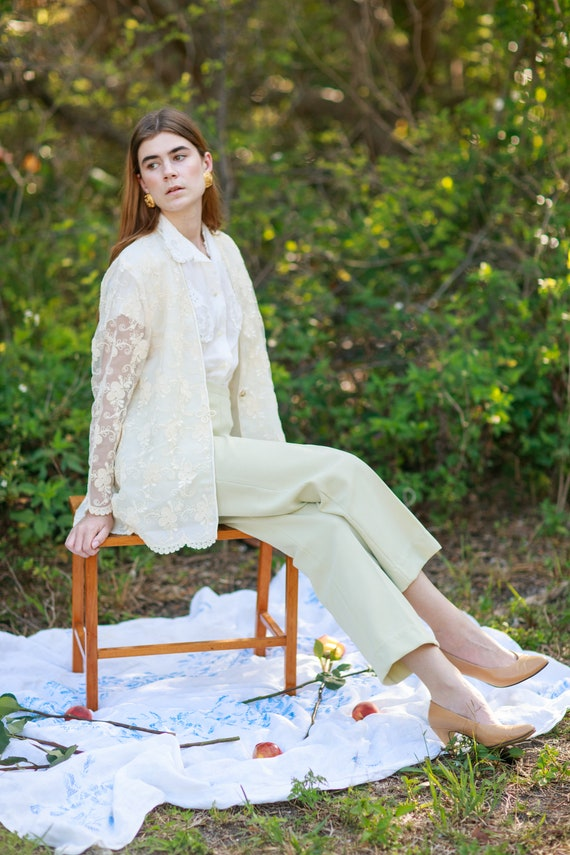 60s Pale Green Knit Trousers Vintage Mid Waist Te… - image 4
