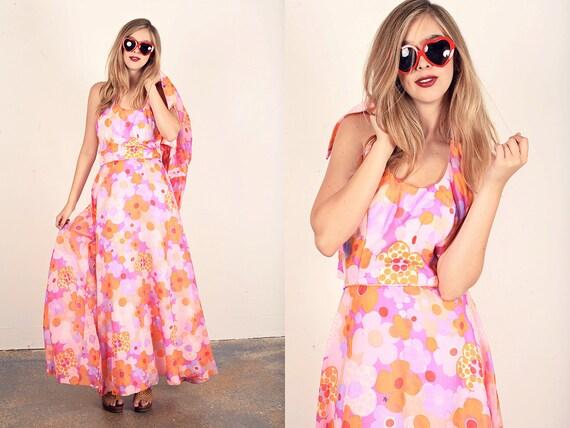 60s Hippie Dress Vintage Pink Floral Halter Maxi D