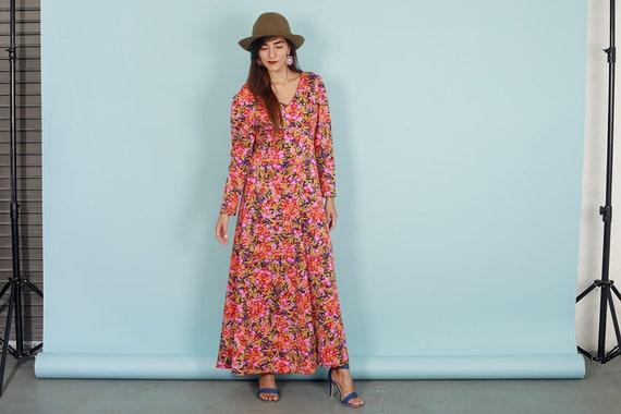 60s Botanical Dress Vintage Flower Print Long Sle… - image 5