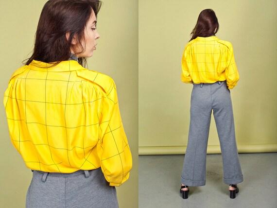 70s Gray Wide Legged Pants Vintage Grey High Wais… - image 3