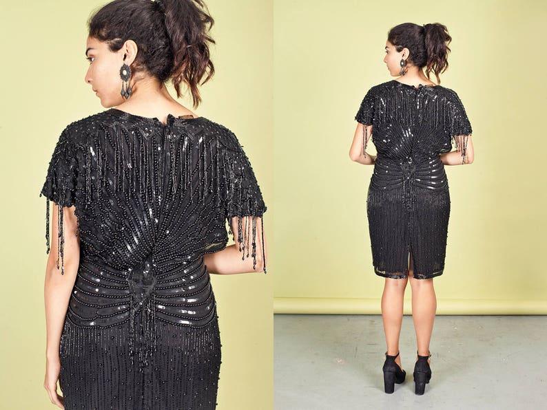 80s Black Evening Wiggle Dress Vintage Sequin Bead Dress