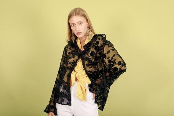 80s Black Sheer Floral Velvet Blouse Vintage Long