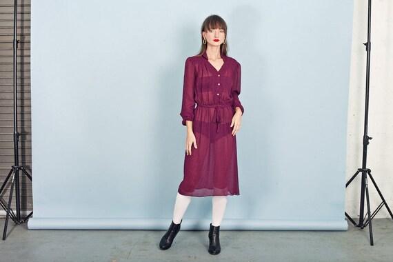 70s Pink Plaid Dress Vintage Fuchsia Long Sleeve S