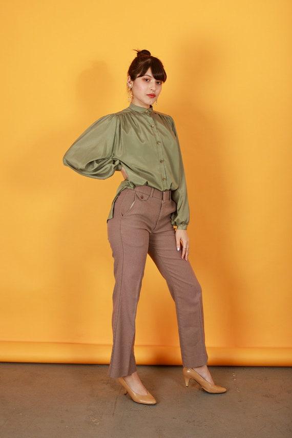 70s Khaki Flared Knit Pants Vintage Beige High Wa… - image 2