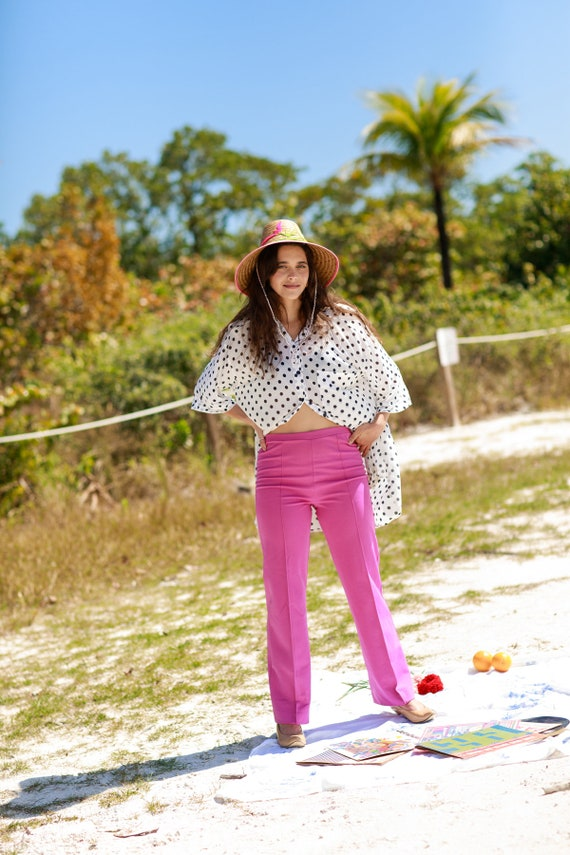 60s Rose Pink Knit Trousers Vintage High Waisted … - image 4
