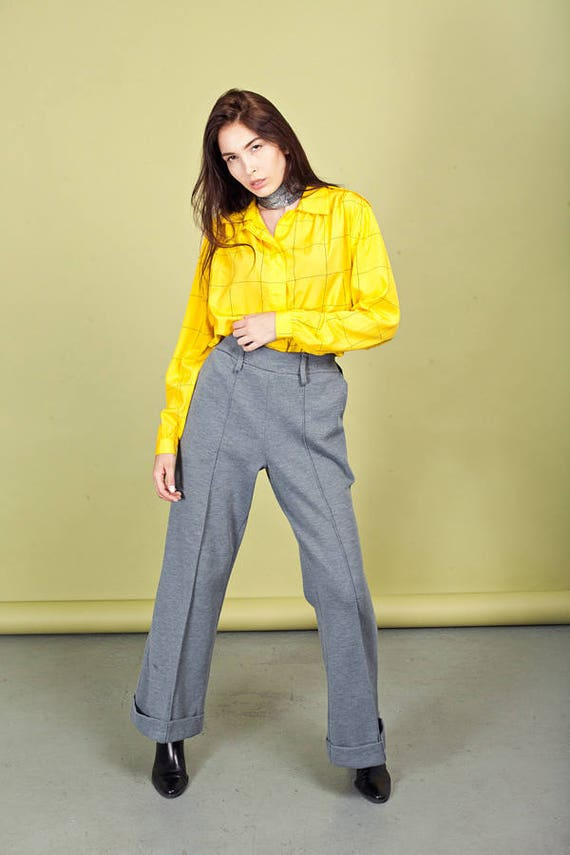 70s Gray Wide Legged Pants Vintage Grey High Wais… - image 5