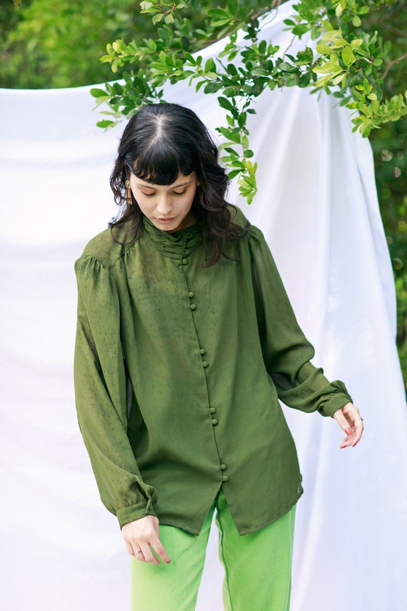 70s Olive Green High Collar Top Vintage Statement… - image 2