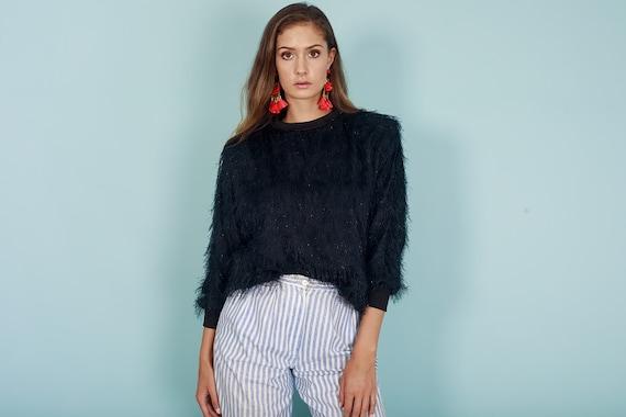 80s Fuzzy Black Shimmery Sweater Vintage Oversize