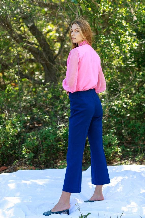 60s Dark Navy Blue Knit Pattern Trousers Vintage … - image 8