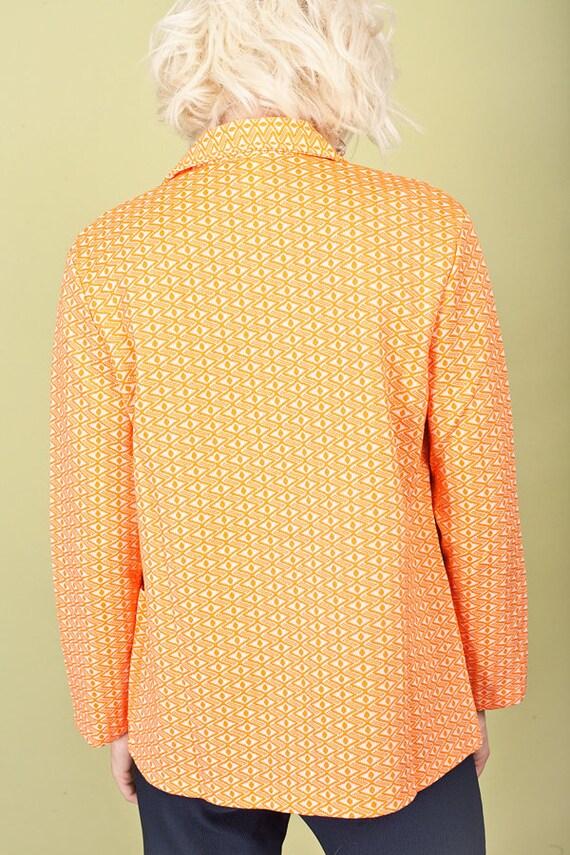 60s Orange Printed Knit Top Vintage Collar Knitte… - image 5