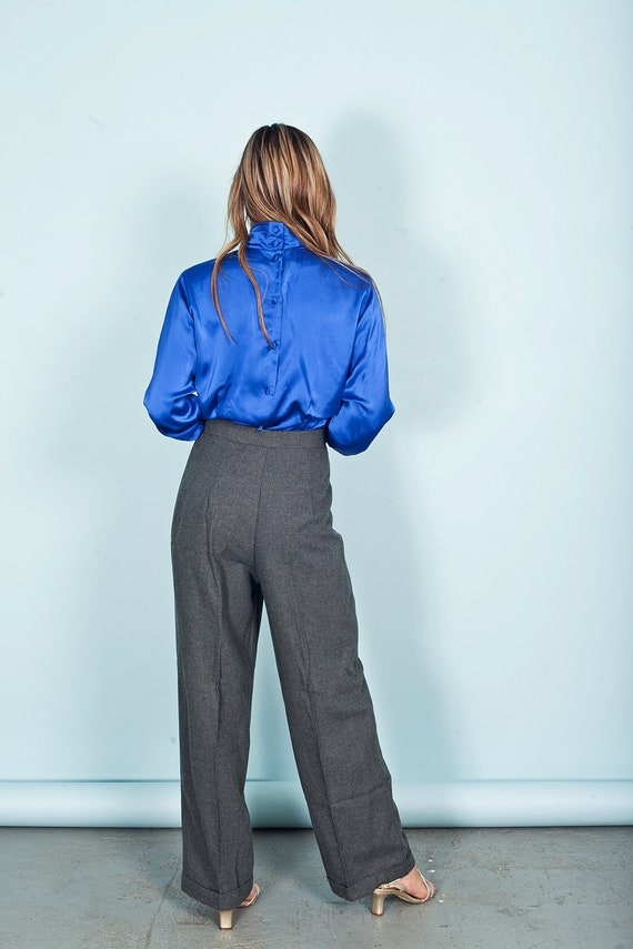 70s Gray Wide Legged Pants Vintage High Rise Knit… - image 7