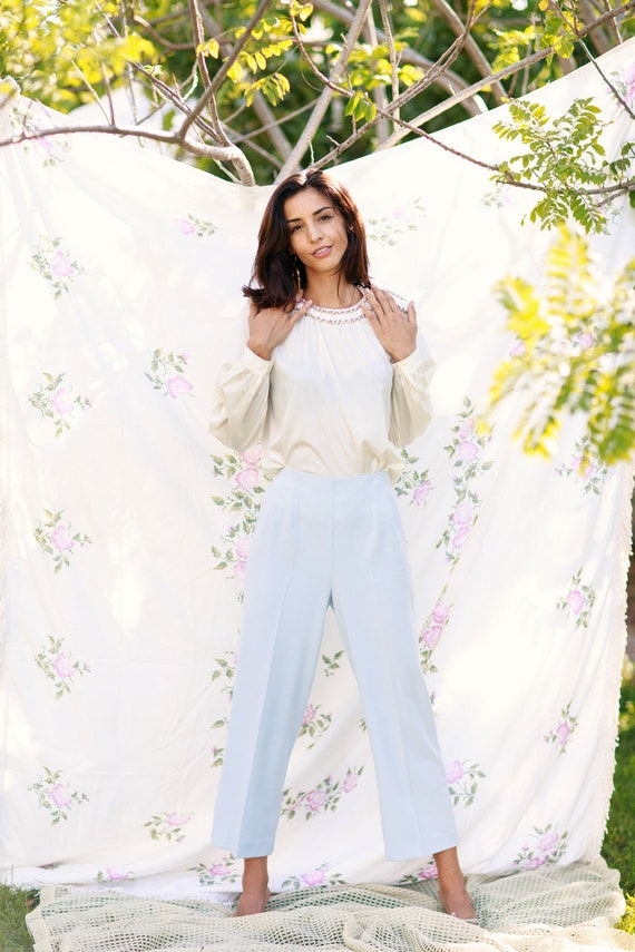 70s Light Blue Soft Knit Trousers Vintage Straigh… - image 4