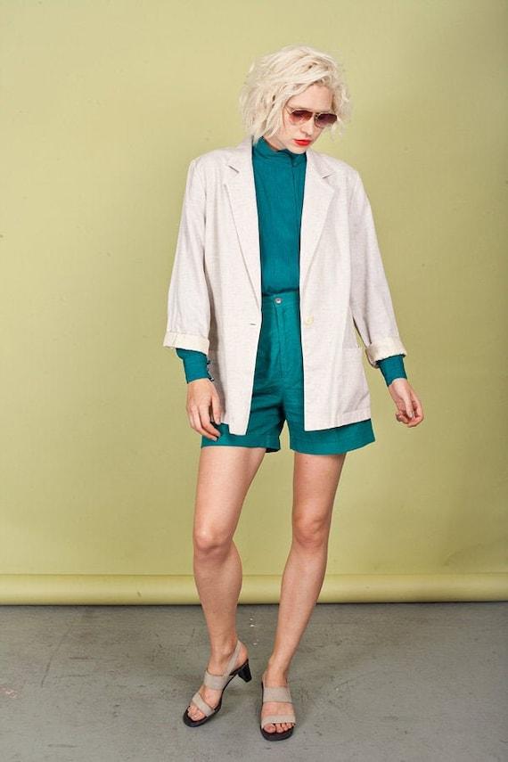 80s Beige Linen Oversize Blazer Vintage Button Min