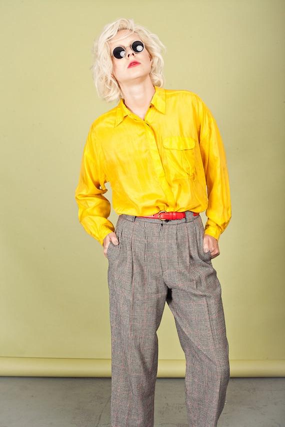 80s Plaid Black Tapered Pants Vintage Wool Petite… - image 3