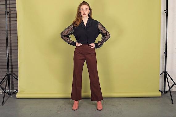 70s Dark Brown Knit Pants Vintage High Waisted Pa… - image 1