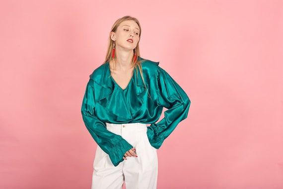 80s Green Jewel Shiny Statement Top Vintage Ruffle