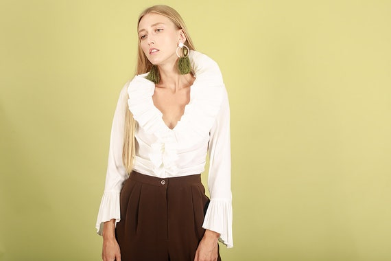 80s Off White Accordion Blouse Vintage Statement … - image 4