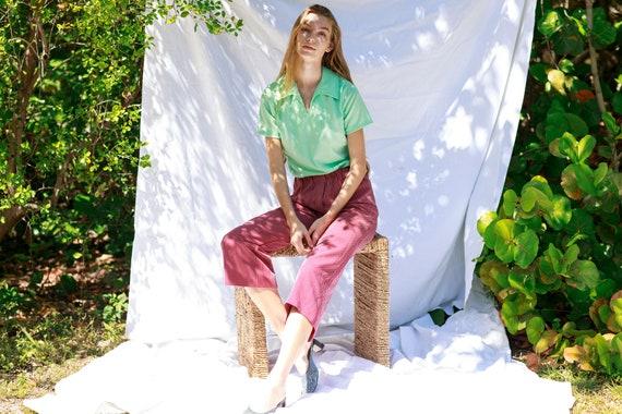 70s Dark Red White Printed Pants Vintage Knit Pat… - image 3