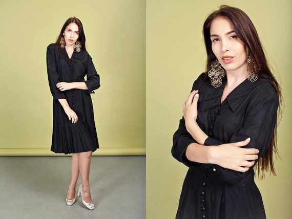 80s Black Gothic Dress Vintage Double Pointy Colla