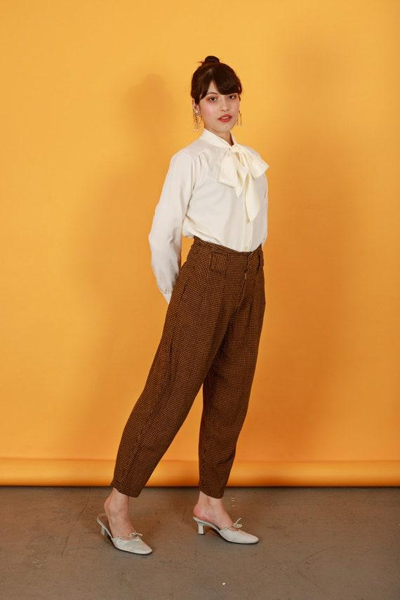 80s Brown Orange Plaid Pants Vintage Houndstooth … - image 4