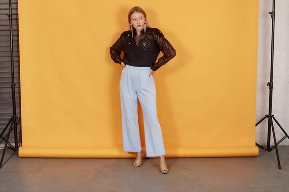70s Pastel Blue Knit Trousers Vintage Light Textu… - image 1