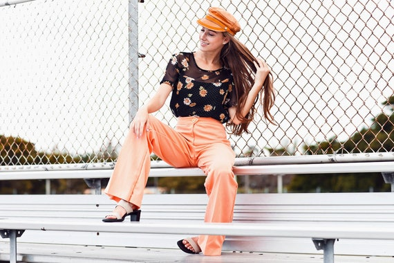 70s Coral High Waisted Pants Vintage Peach Knit W… - image 5