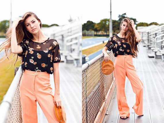 70s Coral High Waisted Pants Vintage Peach Knit W… - image 4