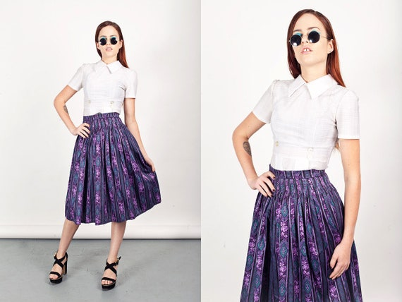 50s Purple Floral Skirt Vintage Filigree Floral Hi