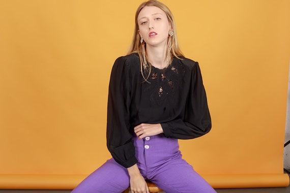 70s Black Silk Sequin Top Vintage Lace Victorian B