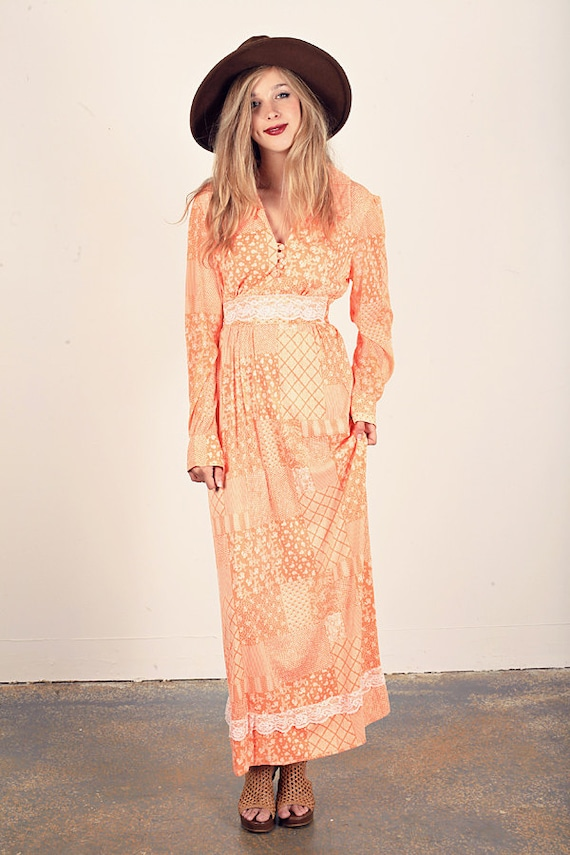70s Orange Lace Maxi Vintage Spring Peach Rayon Dr