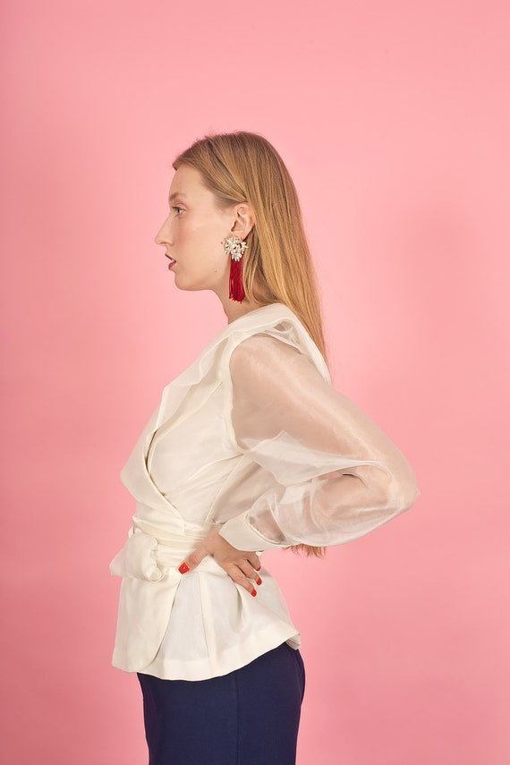 80s Off White Shimmery Statement Collar Top Vinta… - image 5