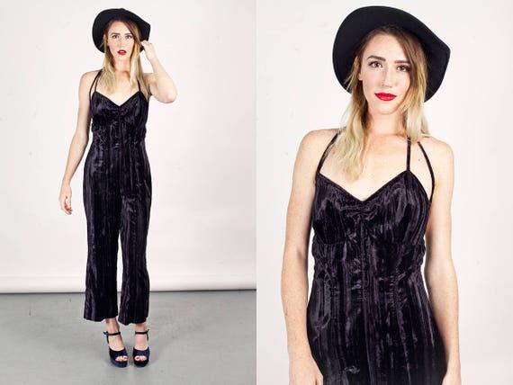 90s Velvet Black Jumpsuit Vintage Black Halter Cru