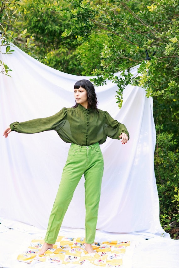 80s Lime Green High Waisted Jeans Vintage Bright D