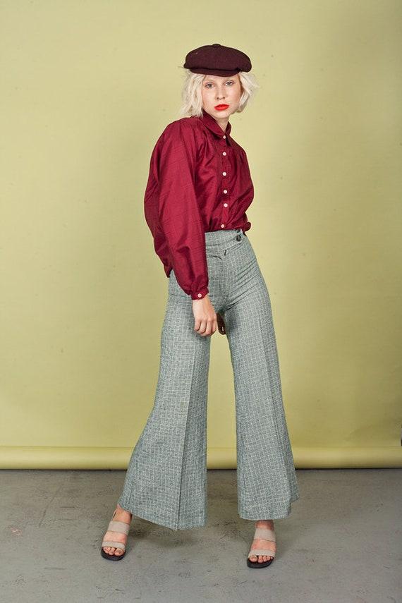 70s Green Knit Patterned Bell Bottom Pants Vintage