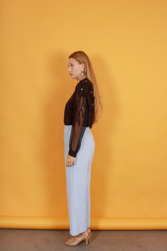 70s Pastel Blue Knit Trousers Vintage Light Textu… - image 7