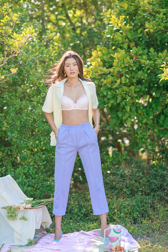 80s Purple Lilac High Waisted Pants Vintage Knit … - image 4