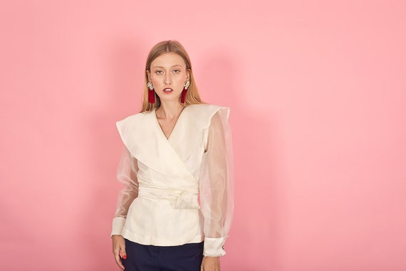80s Off White Shimmery Statement Collar Top Vinta… - image 4