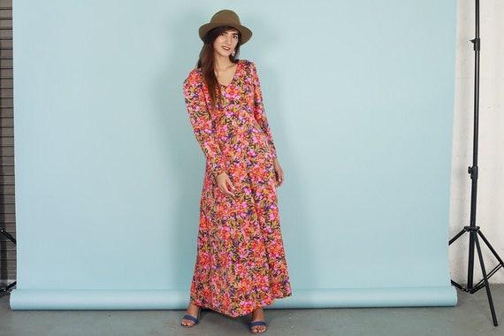 60s Botanical Dress Vintage Flower Print Long Slee