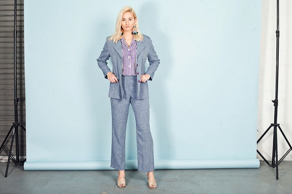 80s Blue Heathered Wash Pant Set Vintage Pastel Bl