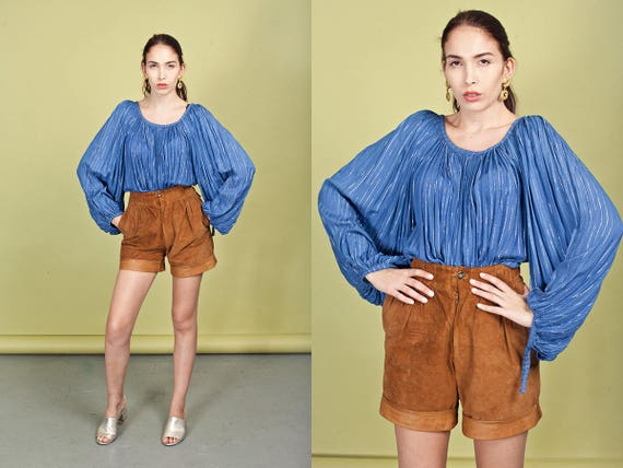 70s Caramel Suede Cuffed Shorts Vintage Brown High