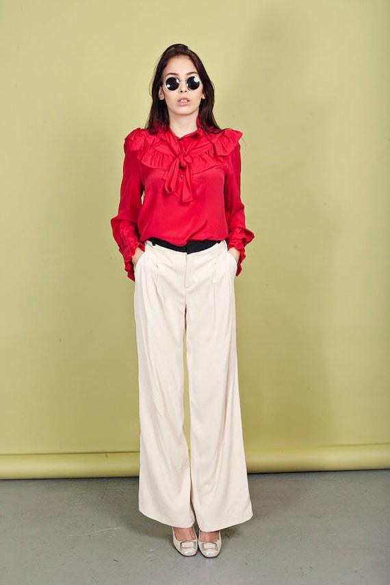 80s Cream Rayon Pants Vintage Black High Waisted F