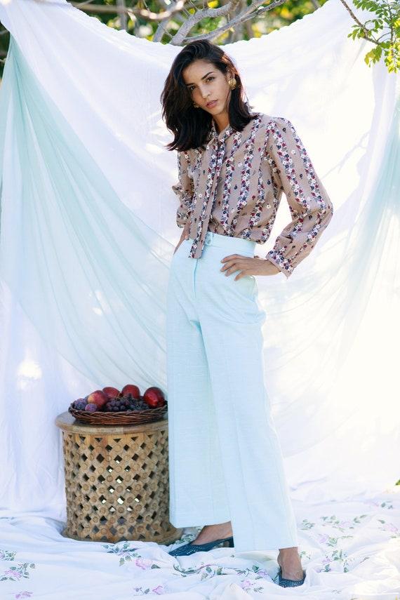 60s Blue Knit Flared Pants Vintage Pastel High Wa… - image 5
