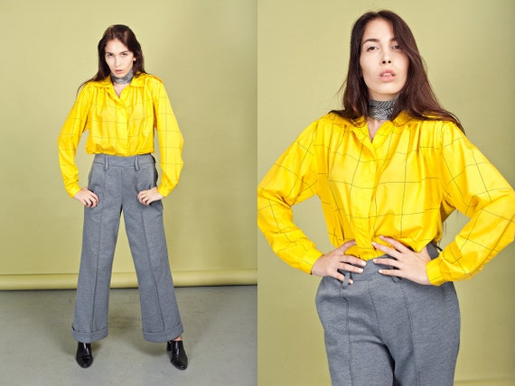 70s Gray Wide Legged Pants Vintage Grey High Waist
