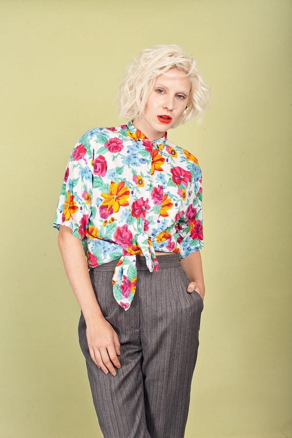 80s Colorful Floral Cotton Blouse Vintage Short Sl
