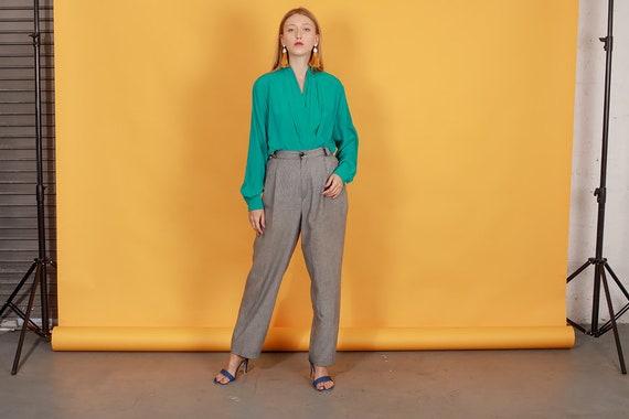 80s Grey Plaid Belted Trousers Vintage Black Slou… - image 3