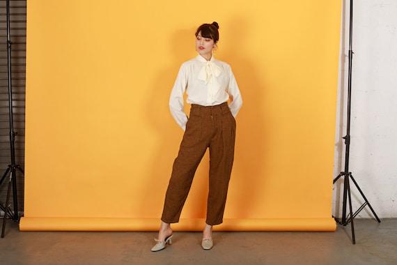 80s Brown Orange Plaid Pants Vintage Houndstooth … - image 5