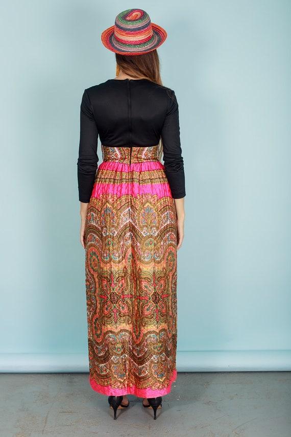 60s Quilt Dress Colorful Vintage Paisley Print Rh… - image 8