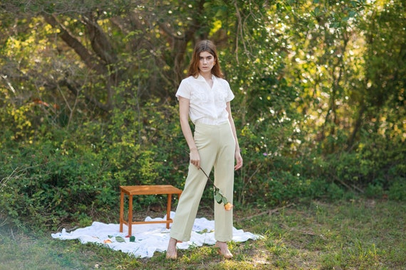 60s Pale Green Knit Trousers Vintage Mid Waist Te… - image 1