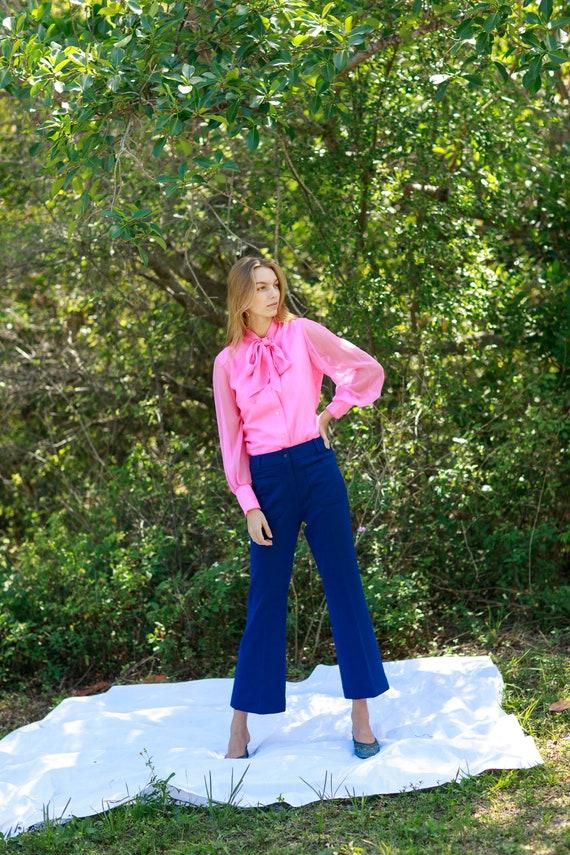 60s Dark Navy Blue Knit Pattern Trousers Vintage … - image 7